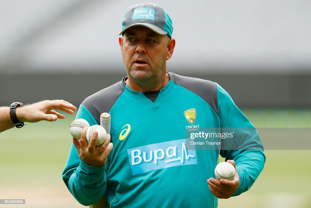Australian Coach Darren Lehmann looks on during the Australian nets session at the on January 13, 2018 in Melbourne, Australia.