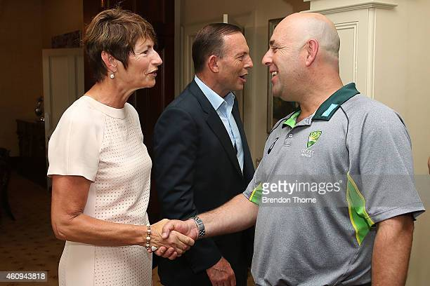 Australian coach Darren Lehmann meets with Australian Prime Minister Tony Abbott and his wife Margaret Abbott during the Australian and Indian...