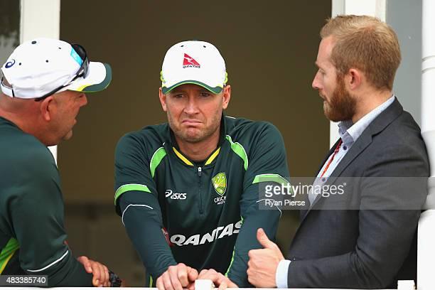 Australian coach Darren Lehmann Michael Clarke of Australia and Australian Team Manger Gavin Dovey talks after day three of the 4th Investec Ashes...
