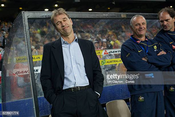 Australian coach Pim Verbeek and assistant coach Graham Arnold during the friendly International between Australia and Holland at The Sydney Football...