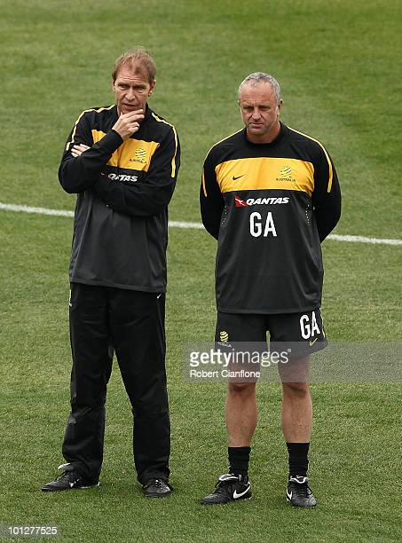 Australian coach Pim Verbeek and assistant Graham Arnold look on during an Australian Socceroos training session at St Stithians College on May 30...