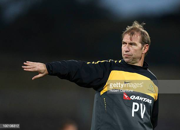 Australian coach Pim Verbeek gestures during an Australian Socceroos training session at Olympic Park on May 21 2010 in Melbourne Australia