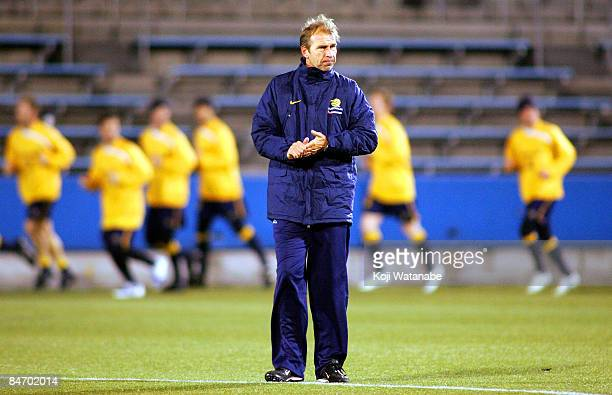 Australian coach Pim Verbeek in action during an Australian Socceroos training session at Mitsuzawa Stadium on February 9, 2009 in Tokyo, Japan.
