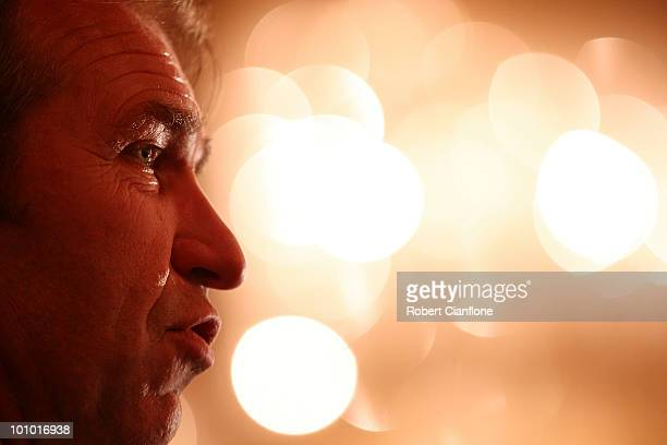 Australian coach Pim Verbeek is seen during an Australian Socceroos welcome function at the Sandton Sun Hotel on May 27 2010 in Sandton South Africa