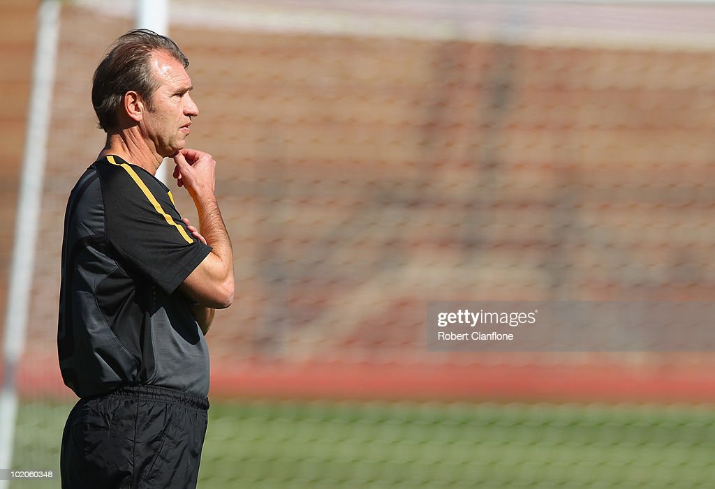 Australian coach Pim Verbeek looks on during an Australian Socceroos trainin session at Ruimsig Stadium on June 14, 2010 in Roodepoort, South Africa.