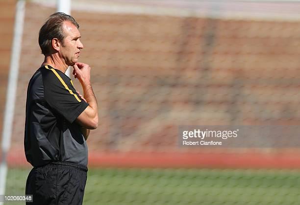 Australian coach Pim Verbeek looks on during an Australian Socceroos trainin session at Ruimsig Stadium on June 14 2010 in Roodepoort South Africa