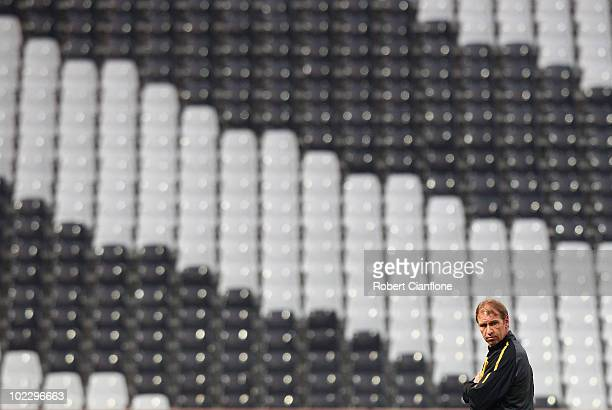 Australian coach Pim Verbeek looks on during an Australian Socceroos training session at the Mbombela Stadium on June 22 2010 in Nelspruit South...
