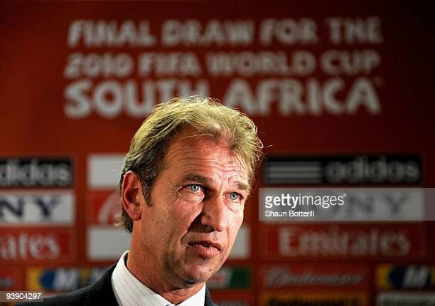 Australian coach Pim Verbeek speaks after the Final Draw for the FIFA World Cup 2010 December 4 2009 at the International Convention Centre in Cape...