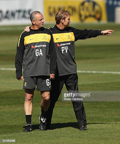 Australian coach Pim Verbeek talks with assistant coach Graham Arnold during an Australian Socceroos training session at St Stithians College on June...