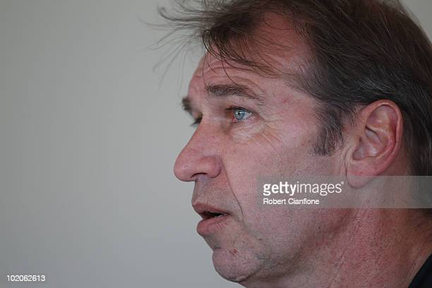 Australian coach Pim Verbeek talsk to the meida after an Australian Socceroos training session at Ruimsig Stadium on June 14 2010 in Roodepoort South...