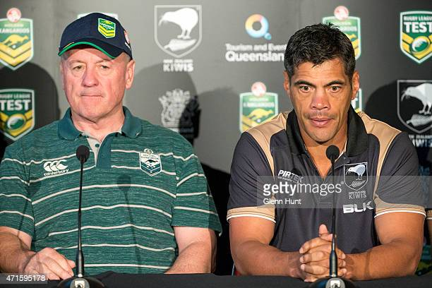 Australian coach Tim Sheens and New Zealand coach Stephen Kearney at a press conference ahead of the international Test match at Suncorp Stadium on...