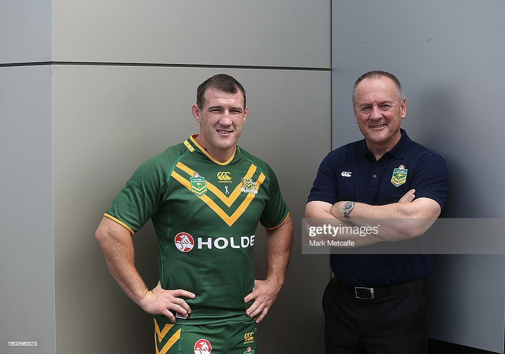 Australian coach Tim Sheens and Paul Gallen pose during a press event announcing that car maker Holden will sponsor the NRL in a three year deal, on January 31, 2013 in Sydney, Australia.