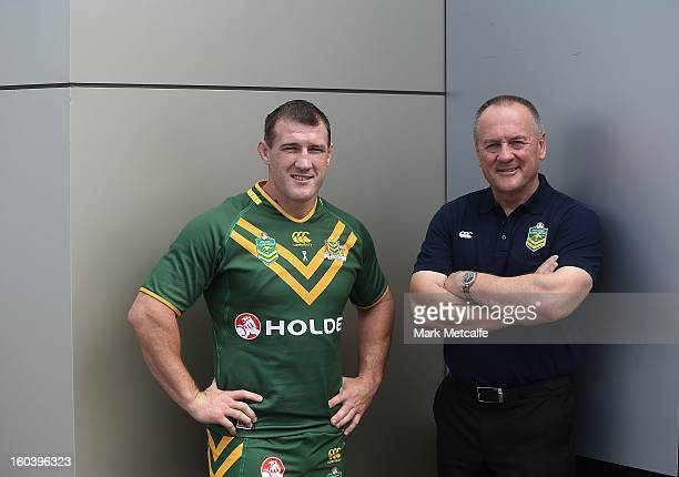 Australian coach Tim Sheens and Paul Gallen pose during a press event announcing that car maker Holden will sponsor the NRL in a three year deal on...