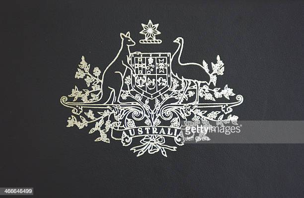 Australian Coat of Arms detail on a chair back in the House of Representatives in the Parliament Building in Canberra