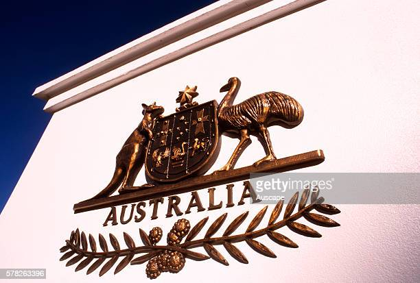 Australian coat of arms on a pillar on Old Parliament House Canberra Australian Capital Territory Australia