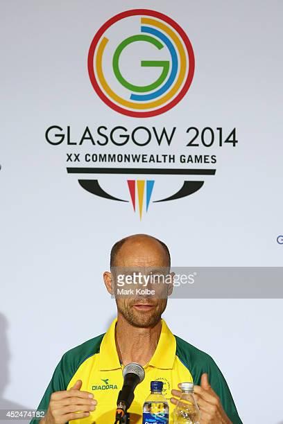 Australian Commonwealth Games chef de mission Steve Moneghetti speaks to the media at an Australian swim team press conference at the Main Press...