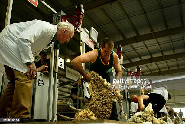 Australian competitor Shannon Warnest in centre and New Zealand competitor David Fagan behind him are judged as they compete in the 2005 Golden...