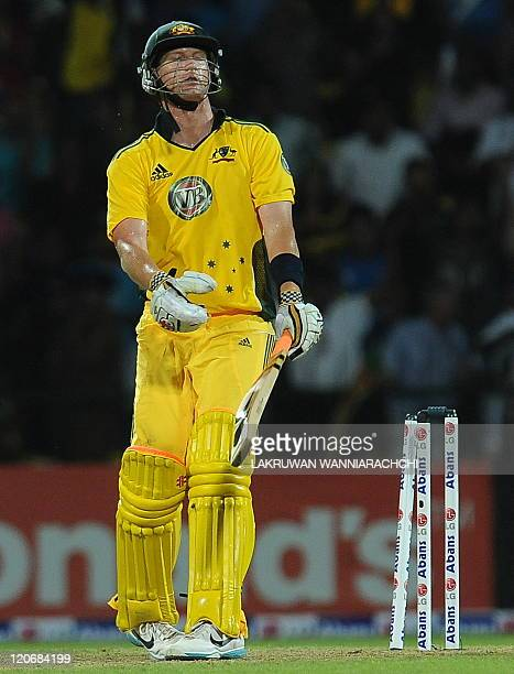 Australian cricket captain Cameron White reacts after being dismissed by Sri Lankan Thisara Perera during the second Twenty20 match between Sri Lanka...