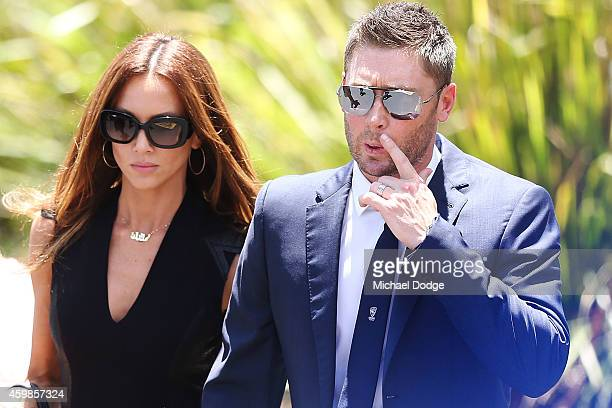 Australian cricket Captain Michael Clarke arrives with wife Kyly Clarke during the Funeral Service for Phillip Hughes on December 3 2014 in...
