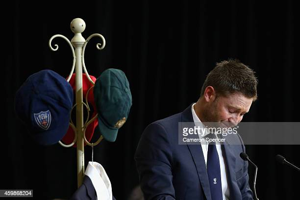 Australian cricket captain Michael Clarke pays tribute to Phillip Hughes during the Funeral Service for Phillip Hughes at Macksville High School...