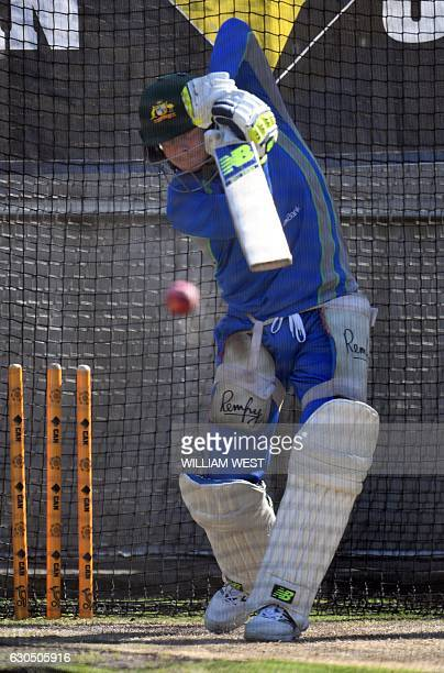 Australian cricket captain Steve Smith bats in the nets during a practice session in Melbourne on December 25 ahead of their Boxing Day Test match...