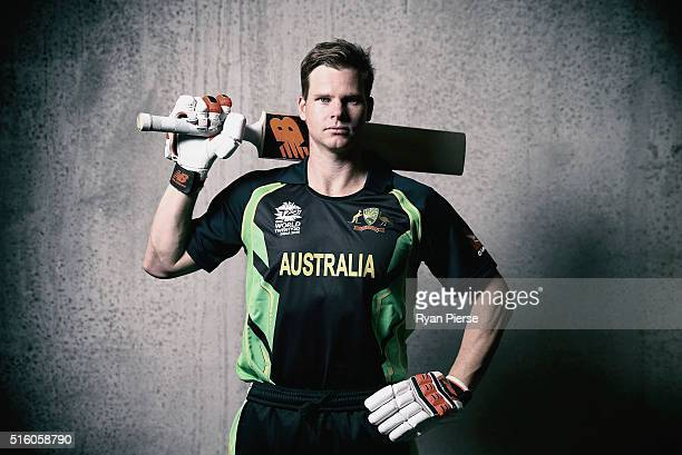 Australian cricket captain Steve Smith poses during a portrait session ahead of the ICC 2016 Twenty20 World Cup on February 18 2016 in Christchurch...