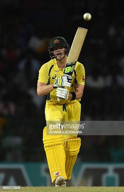 Australian cricket captain Steven Smith plays a shot during the first One Day International cricket match between Sri Lanka and Australia at the R...