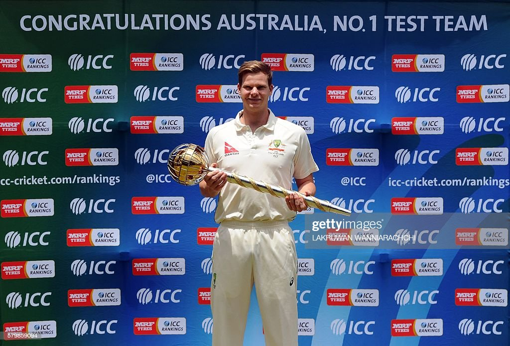 Australian Cricket Captain Steven Smith Poses With The ICC Test Championship Mace In Kandy On July 25 2016 Received For Leading His Side To