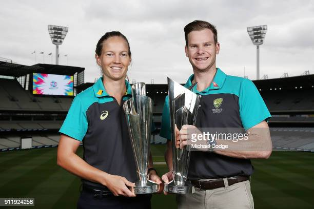 Australian Cricket captains Meg Lanning and Steve Smith pose with the ICC T20 World Cup Trophies during the ICC World T20 media opportunity at on...