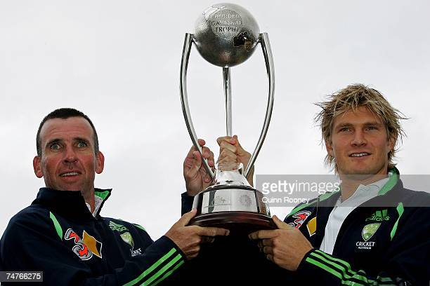 Australian cricket coach Tim Neilsen and Shane Watson pose for a photo with the BorderGavaskar Trophy during the Cricket Australia 200708 ticket...