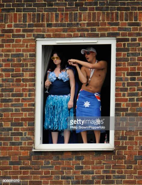 Australian Cricket Fans Watch The Match From A Block Of Flats Overlooking Ground During