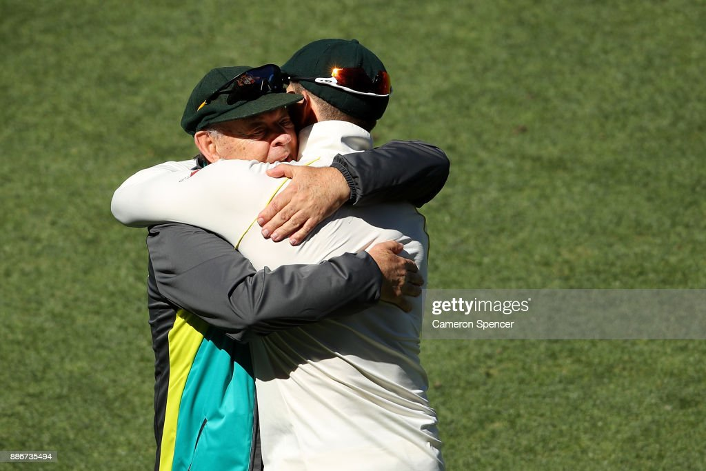 Australian cricket legend Barry 'Nugget' Rees congratulates Tim Paine of Australia after winning the test during day five of the Second Test match during the 2017/18 Ashes Series between Australia and England at Adelaide Oval on December 6, 2017 in Adelaide, Australia.