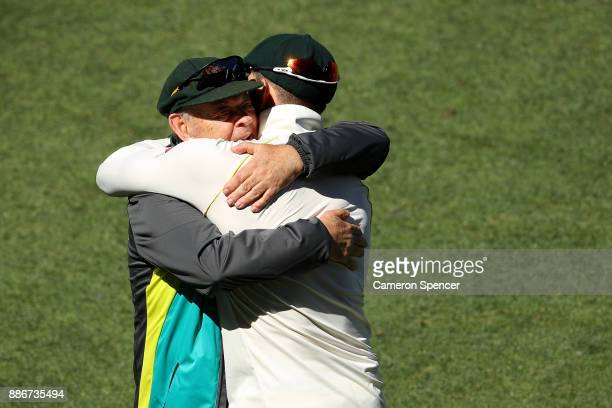 Australian cricket legend Barry 'Nugget' Rees congratulates Tim Paine of Australia after winning the test during day five of the Second Test match...