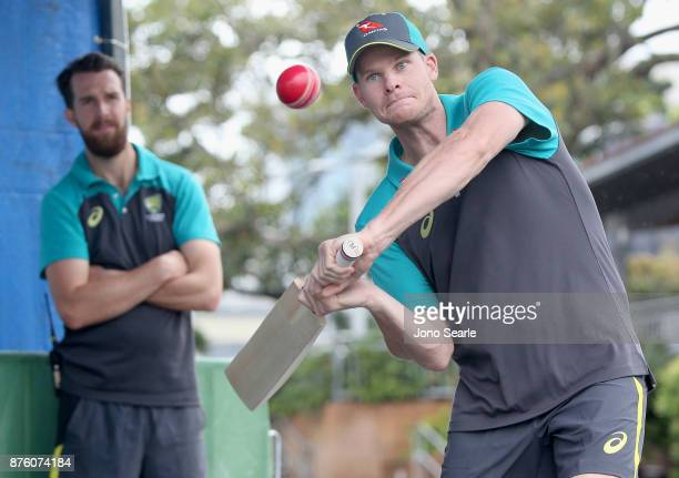 Australian Cricket player and Captain Steve Smith hits a ball as he attends the Brisbane Bupa Family Day on November 19 2017 in Brisbane Australia