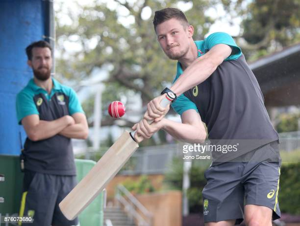 Australian Cricket player Cameron Bancroft hits a ball as he attends the Brisbane Bupa Family Day on November 19 2017 in Brisbane Australia