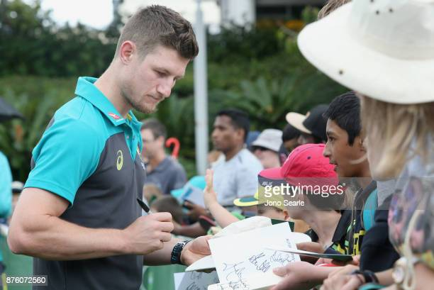 Australian Cricket player Cameron Bancroft signs autographs for fans as he attends the Brisbane Bupa Family Day on November 19 2017 in Brisbane...