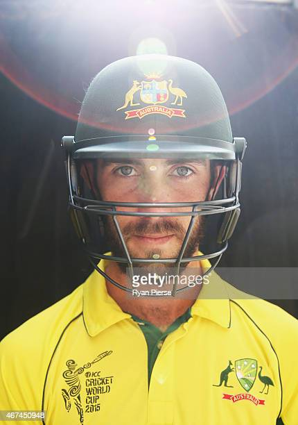 Australian cricket player Glenn Maxwell poses during portrait session at Sydney Cricket Ground on March 25 2015 in Sydney Australia