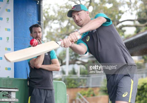 Australian Cricket player Jackson Bird hits a ball as he attends the Brisbane Bupa Family Day on November 19 2017 in Brisbane Australia
