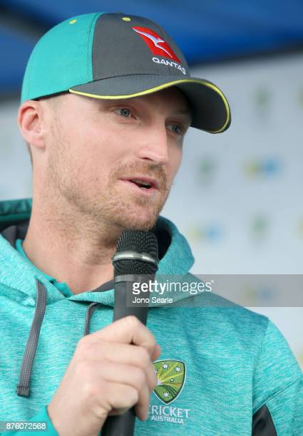 Australian Cricket player Jackson Bird talks to the MC as he attends the Brisbane Bupa Family Day on November 19 2017 in Brisbane Australia