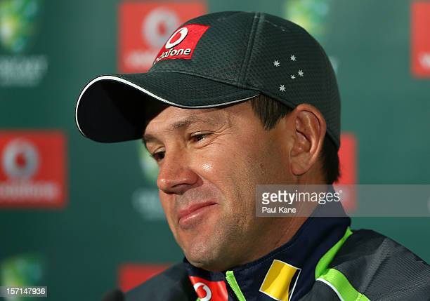 Australian cricket player Ricky Ponting holds a press conference to announce his retirement from international cricket on November 29 2012 in Perth...