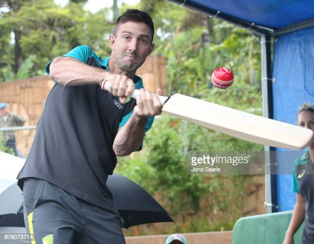 Australian Cricket player Shaun Marsh hits a ball into the crowd as he attends the Brisbane Bupa Family Day on November 19 2017 in Brisbane Australia