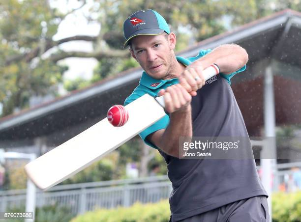 Australian Cricket player Tim Paine hits a ball into the crowd as he attends the Brisbane Bupa Family Day on November 19 2017 in Brisbane Australia