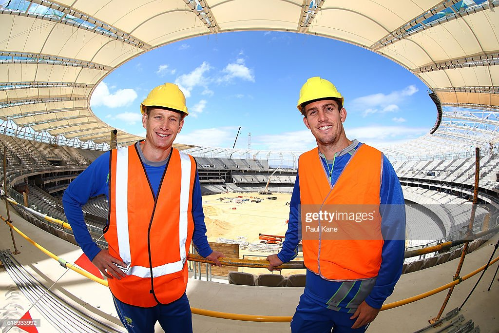 Australian cricket players Adam Voges and Mitchell Marsh pose during the new Perth Stadium Tour on October 29, 2016 in Perth, Australia.