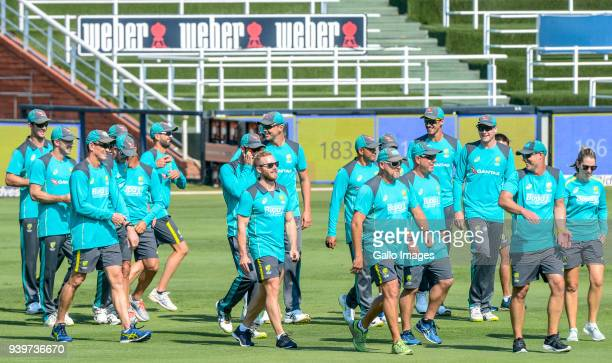 Australian cricket players during the Australia national mens cricket team training session at Bidvest Wanderers Stadium on March 29 2018 in...