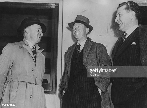 Australian cricket selectors Don Bradman Jack Ryder and Eddie Ryder sharing a joke as they prepare to with the Australian test team play England in...