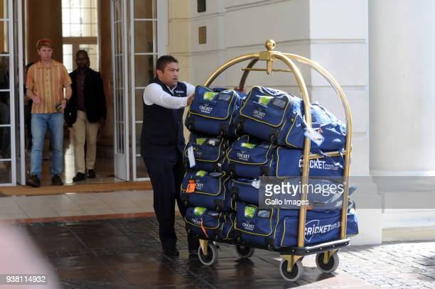 Australian cricket team bags are loaded into a truck outside the Southern Sun The Cullinan hotel on March 26 2018 in Cape Town South Africa