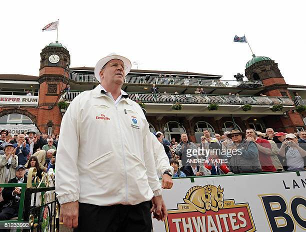 Australian cricket umpire Darrell Hair takes the field on the first day of the second Test match between England and New Zealand at Old Trafford...
