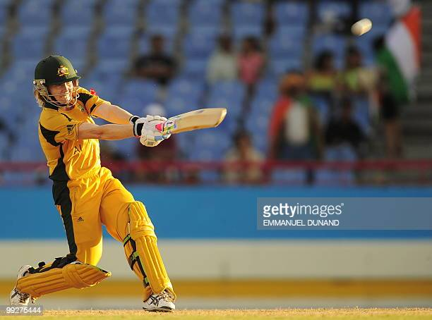 Australian cricketer Alex Blackwell hits a boundary during the ICC Women�s World Cup Twenty20 semi final match between Australia and India at the...