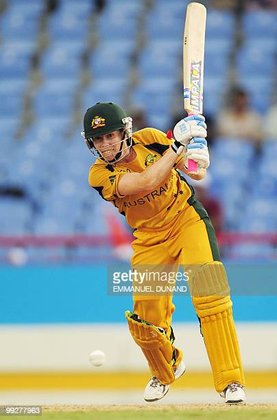 Australian cricketer Alex Blackwell plays a shot during the ICC Women�s World Cup Twenty20 semi final match between Australia and India at the...