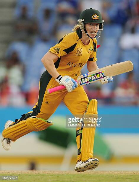 Australian cricketer Alex Blackwell takes a run during the ICC Women�s World Cup Twenty20 semi final match between Australia and India at the...